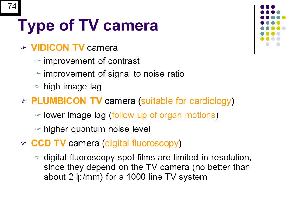 Type of TV camera VIDICON TV camera