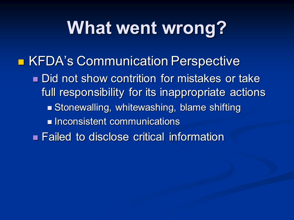 What went wrong KFDA's Communication Perspective