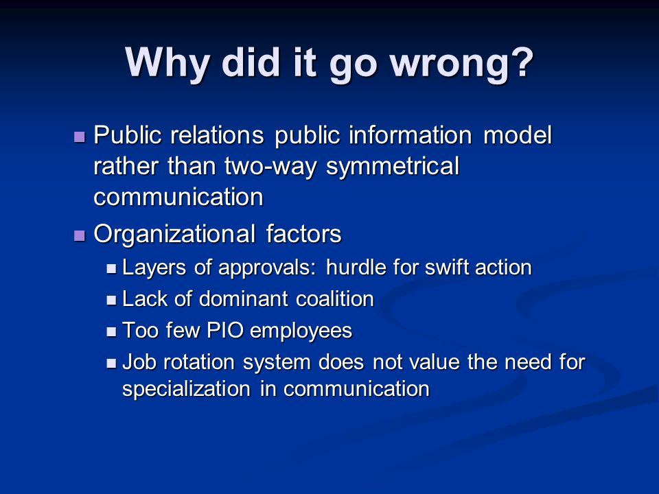 Why did it go wrong Public relations public information model rather than two-way symmetrical communication.