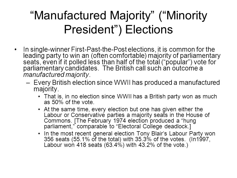 Manufactured Majority ( Minority President ) Elections