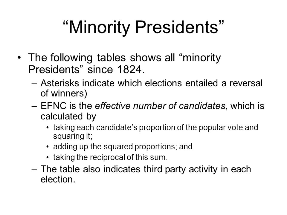Minority Presidents