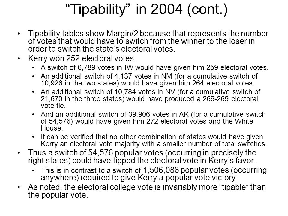 Tipability in 2004 (cont.)