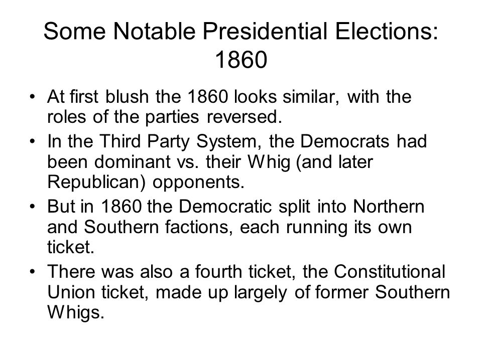 Some Notable Presidential Elections: 1860