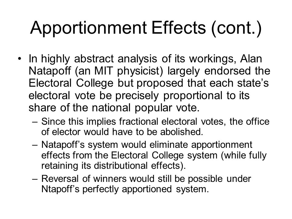 Apportionment Effects (cont.)