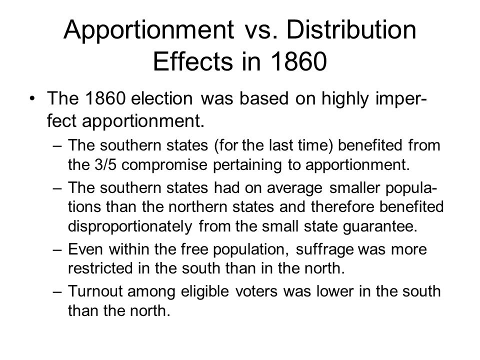 Apportionment vs. Distribution Effects in 1860