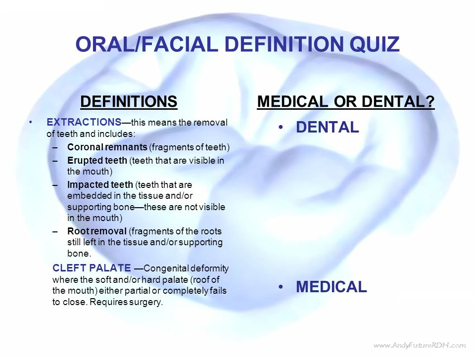 ORAL/FACIAL DEFINITION QUIZ