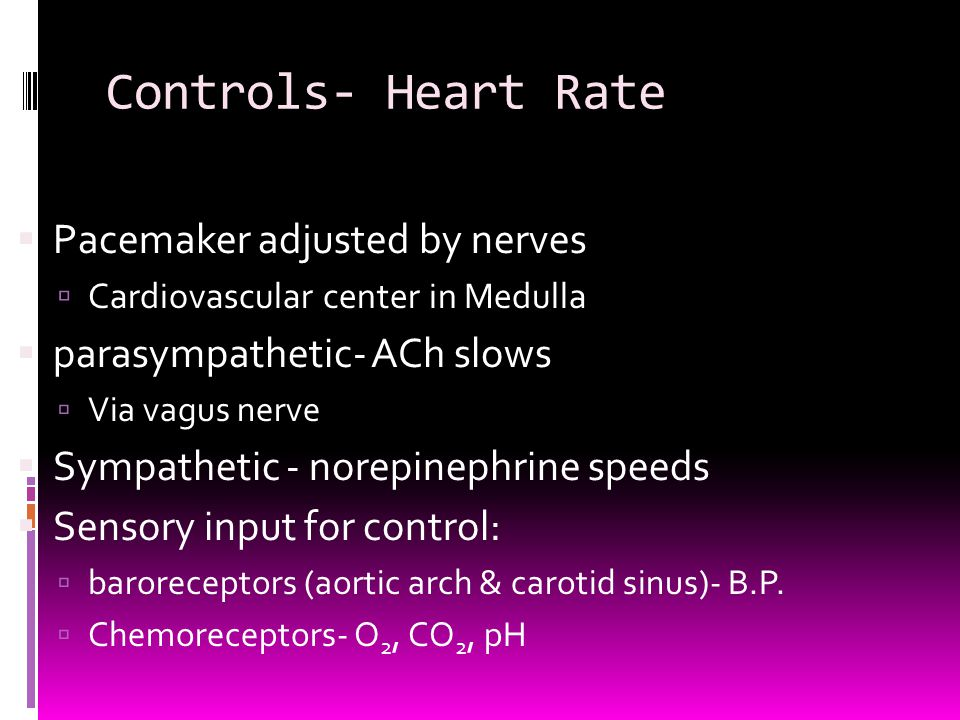 Controls- Heart Rate Pacemaker adjusted by nerves