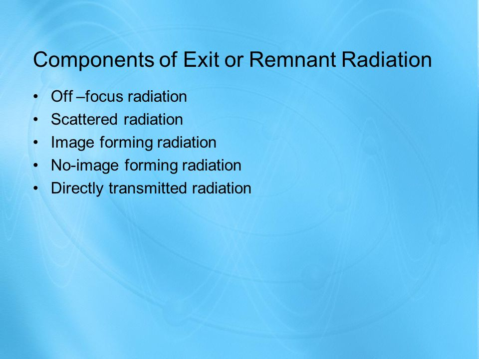 Components of Exit or Remnant Radiation