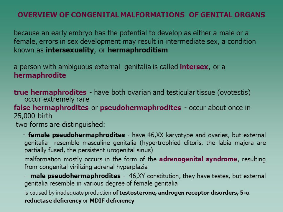 OVERVIEW OF CONGENITAL MALFORMATIONS OF GENITAL ORGANS