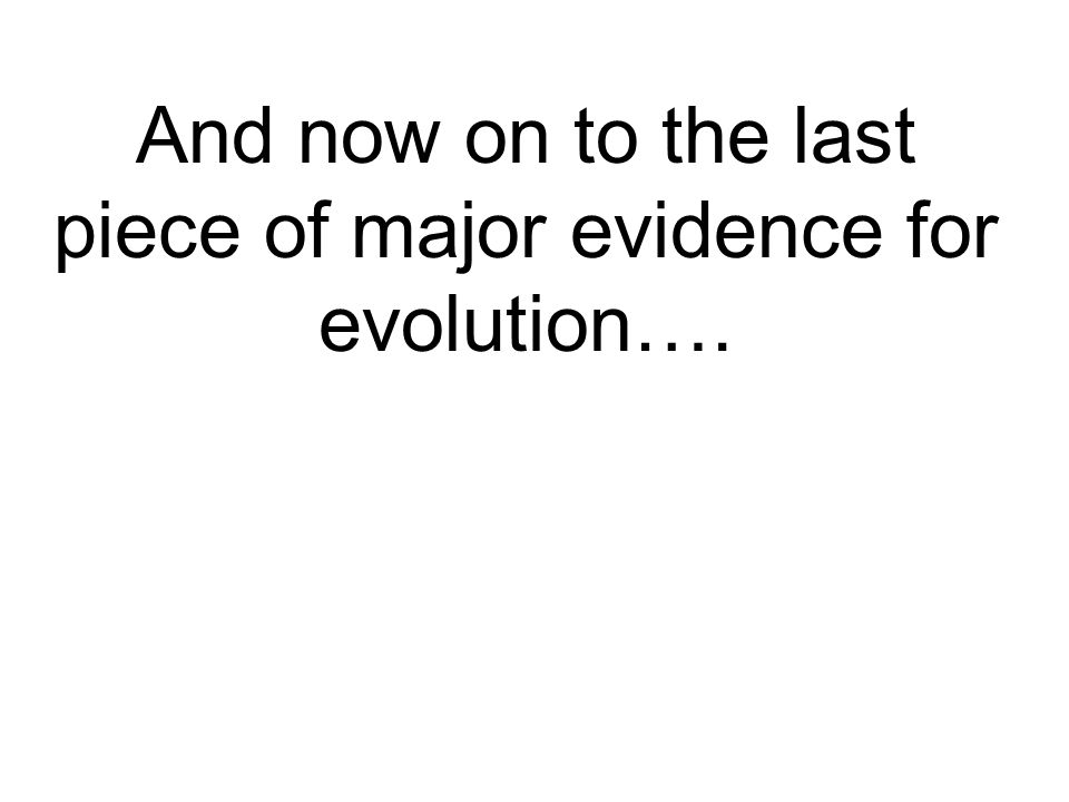 And now on to the last piece of major evidence for evolution….