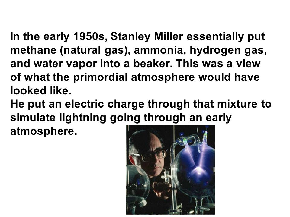 In the early 1950s, Stanley Miller essentially put methane (natural gas), ammonia, hydrogen gas, and water vapor into a beaker. This was a view of what the primordial atmosphere would have looked like. He put an electric charge through that mixture to simulate lightning going through an early atmosphere.