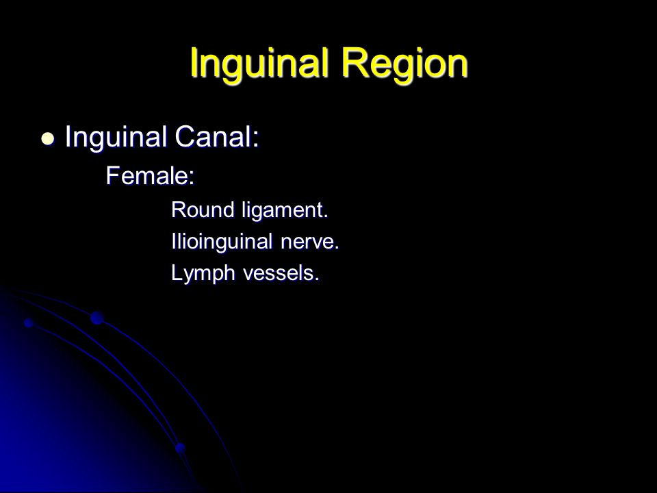 Inguinal Region Inguinal Canal: Female: Round ligament.