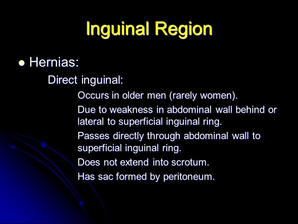 Inguinal Region Hernias: Direct inguinal: