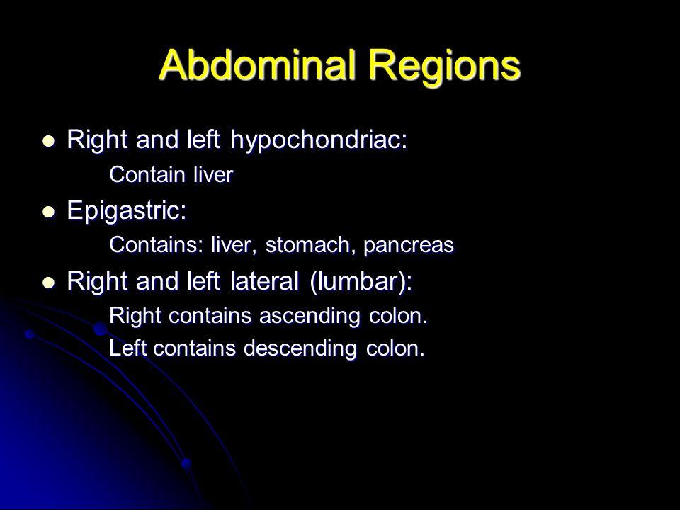 Abdominal Regions Right and left hypochondriac: Epigastric: