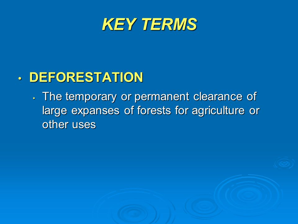 KEY TERMS DEFORESTATION