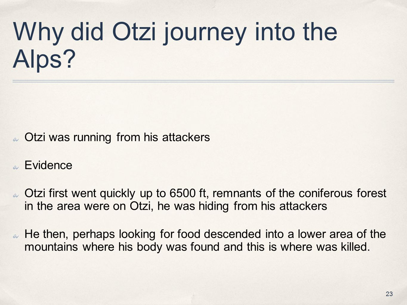 Why did Otzi journey into the Alps