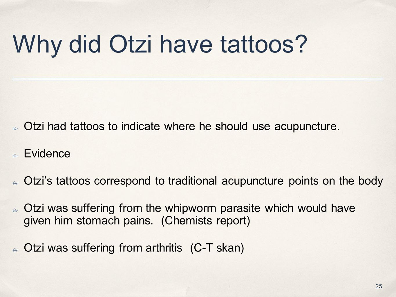 Why did Otzi have tattoos