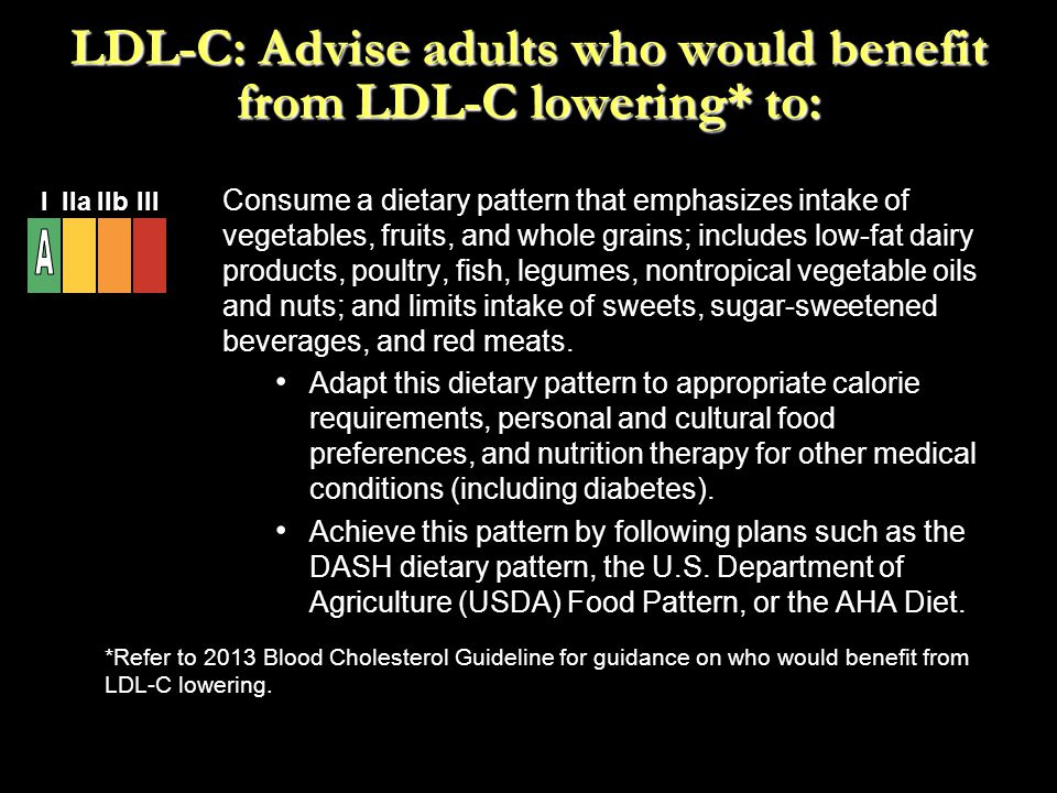 LDL-C: Advise adults who would benefit from LDL-C lowering* to: