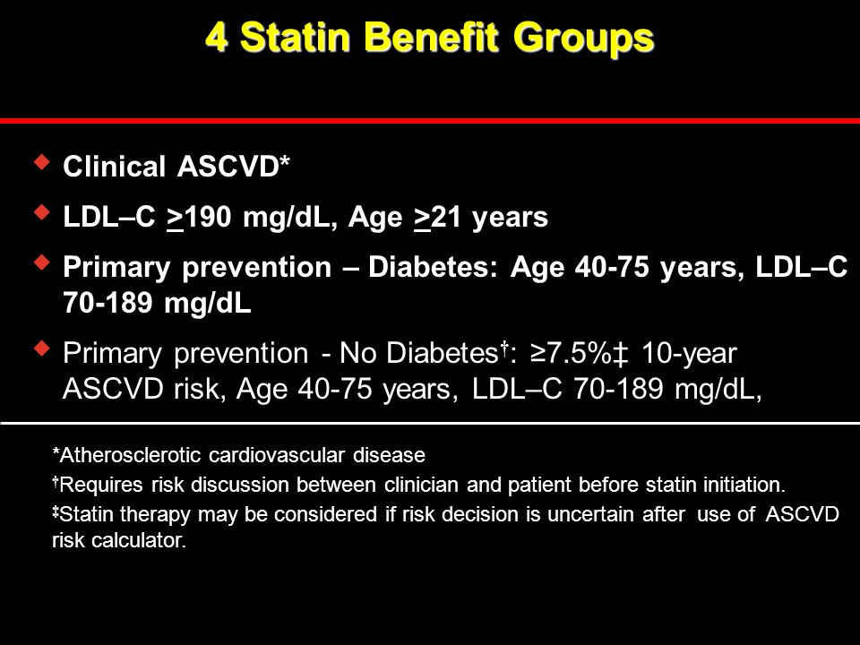4 Statin Benefit Groups Clinical ASCVD*