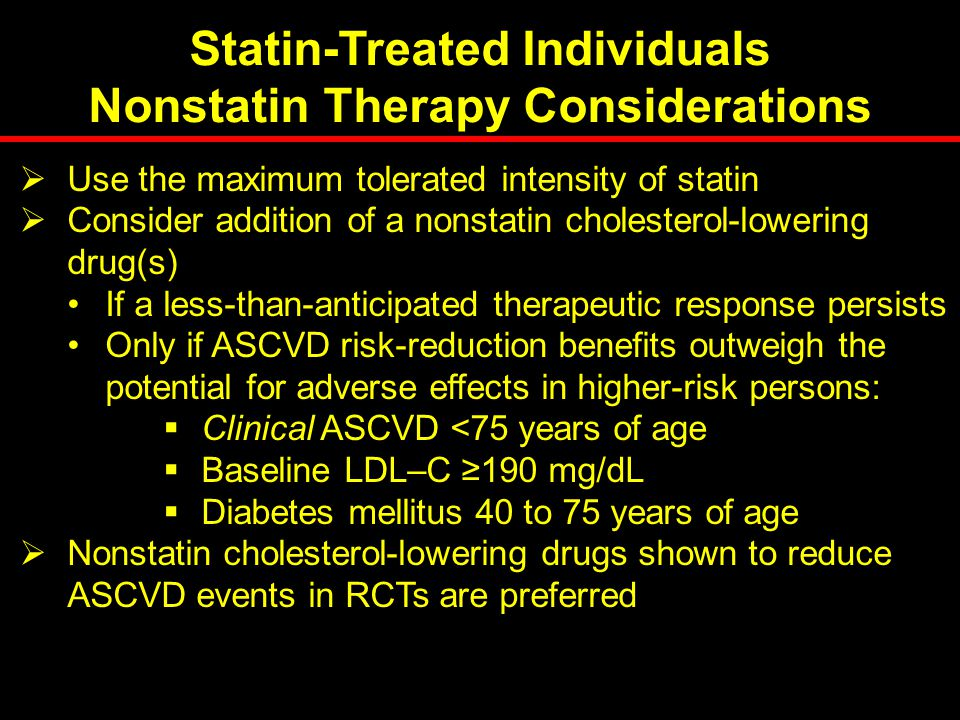 Statin-Treated Individuals Nonstatin Therapy Considerations