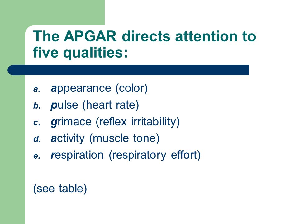 The APGAR directs attention to five qualities: