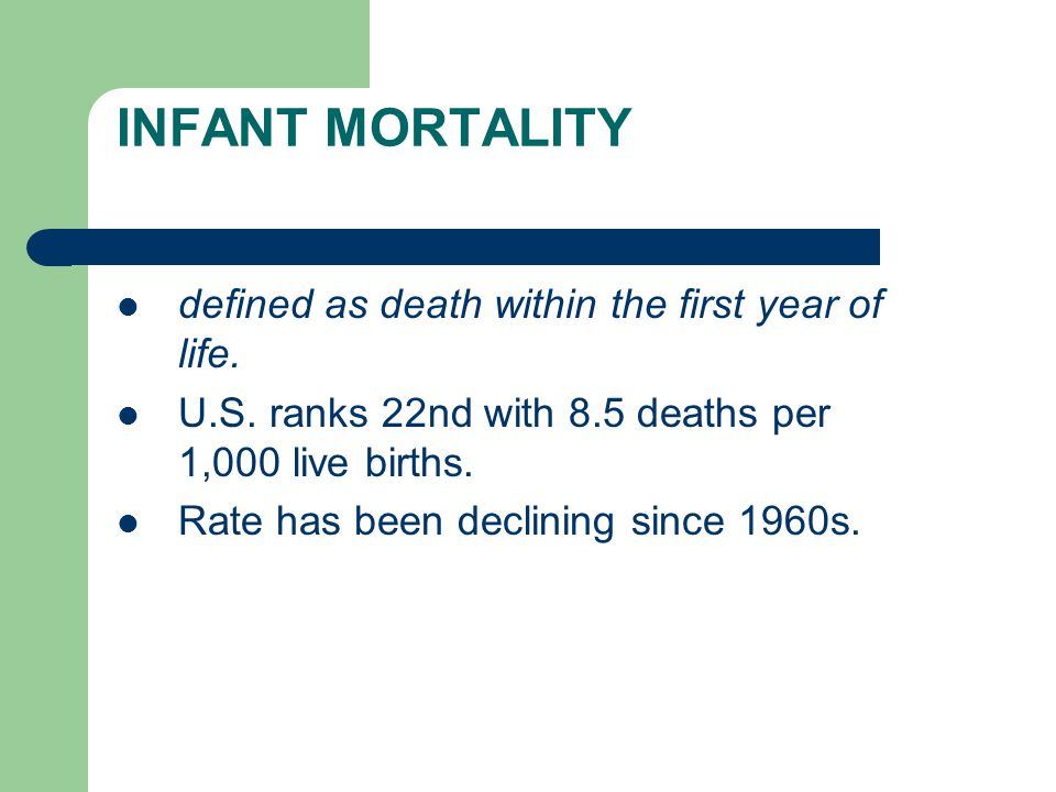 INFANT MORTALITY defined as death within the first year of life.