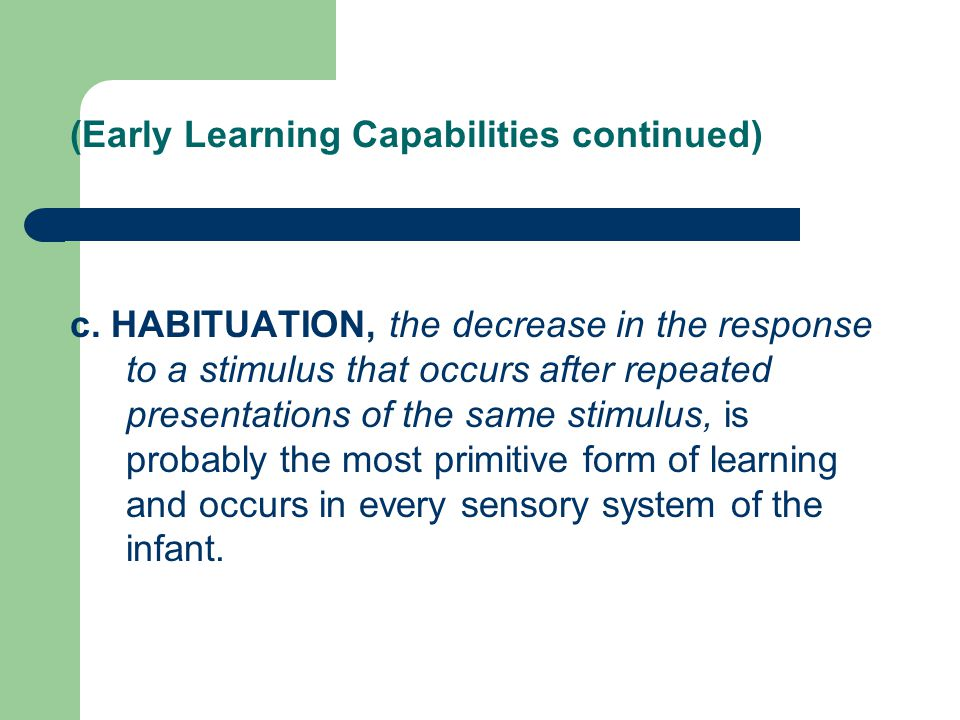 (Early Learning Capabilities continued)