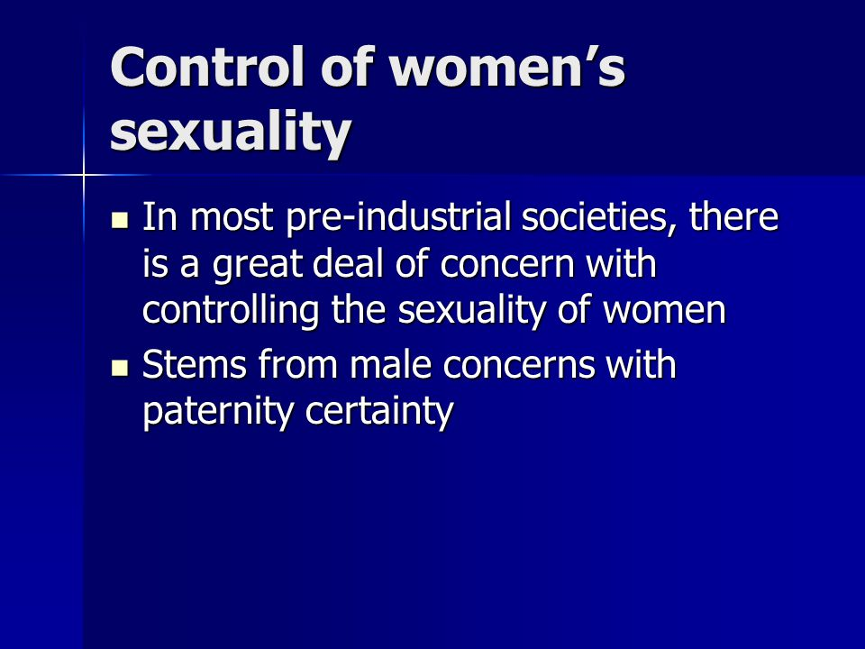 Control of women's sexuality