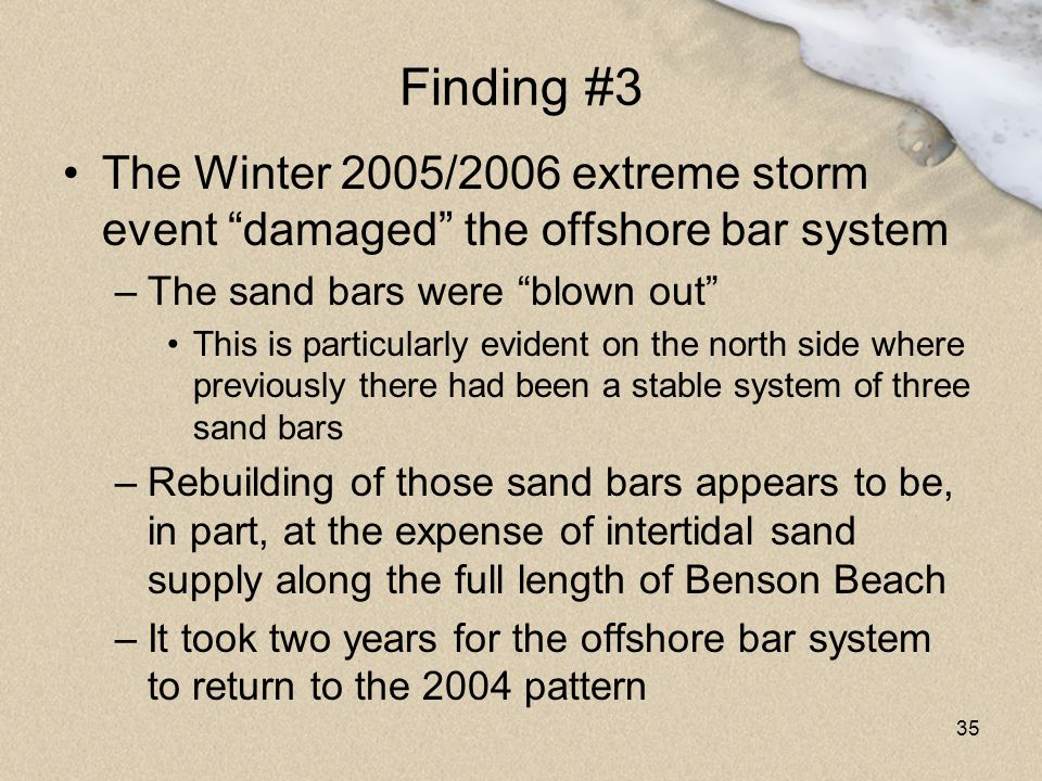 Finding #3 The Winter 2005/2006 extreme storm event damaged the offshore bar system. The sand bars were blown out