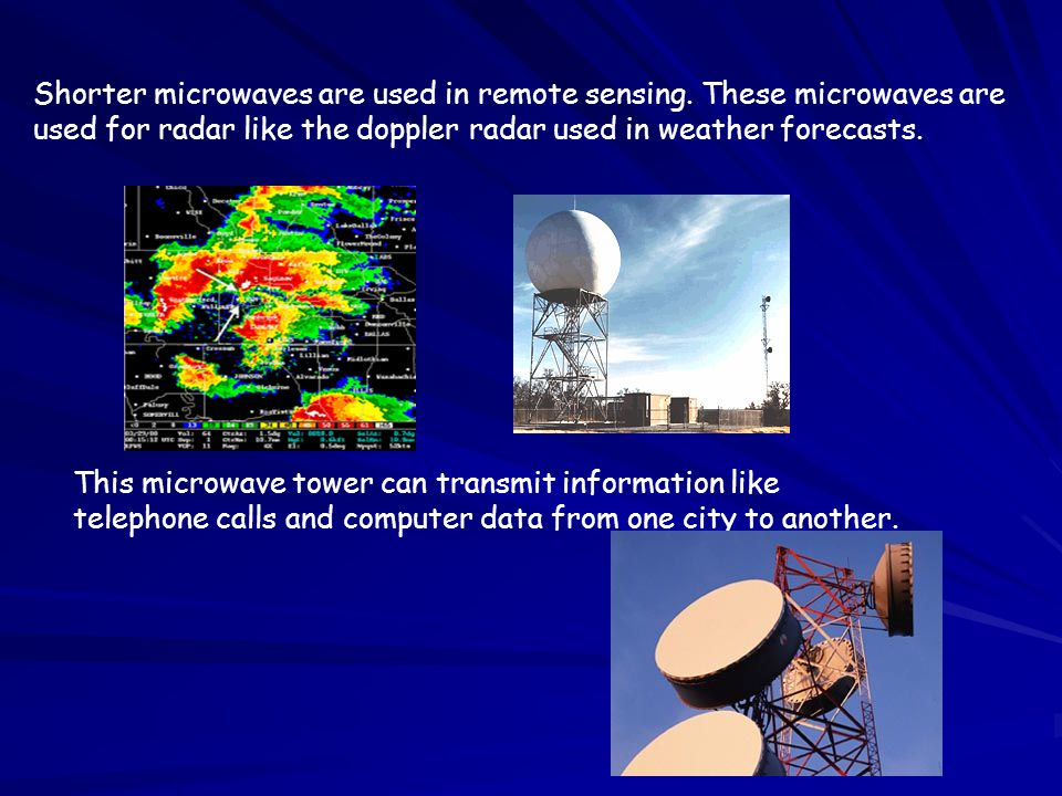 Shorter microwaves are used in remote sensing