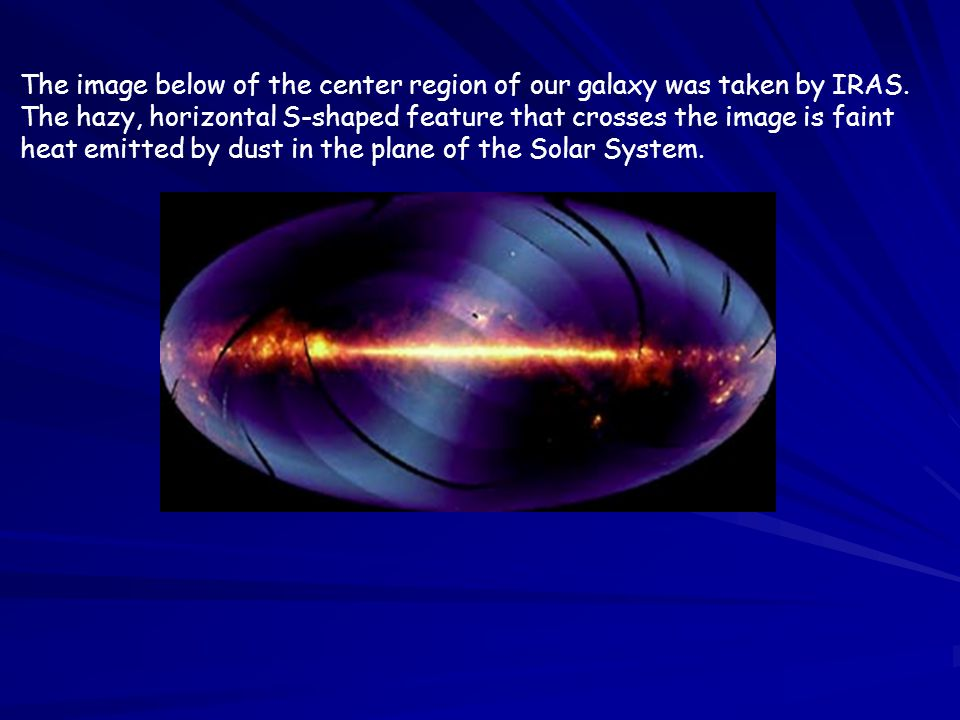 The image below of the center region of our galaxy was taken by IRAS