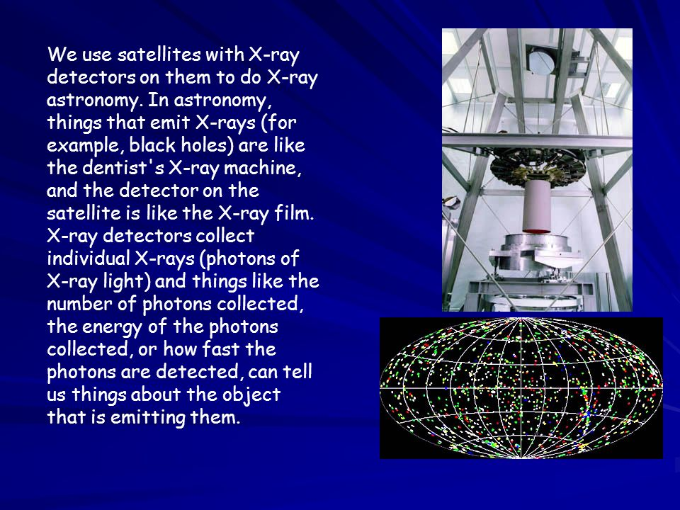 We use satellites with X-ray detectors on them to do X-ray astronomy