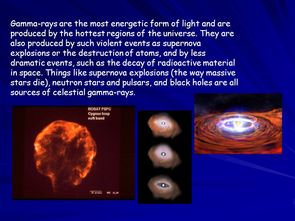 Gamma-rays are the most energetic form of light and are produced by the hottest regions of the universe.