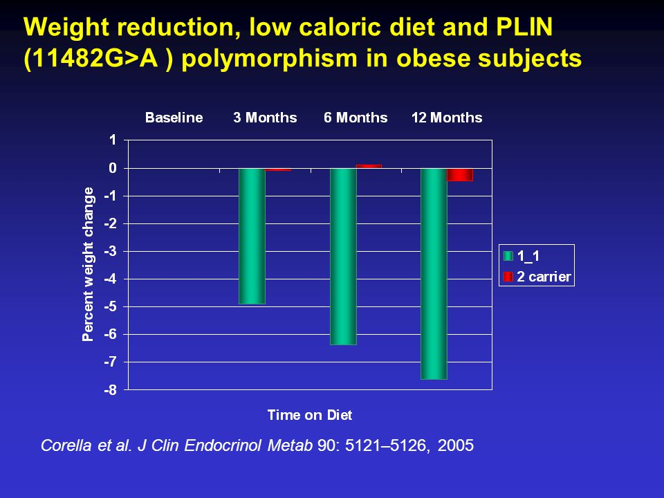 Weight reduction, low caloric diet and PLIN (11482G>A ) polymorphism in obese subjects