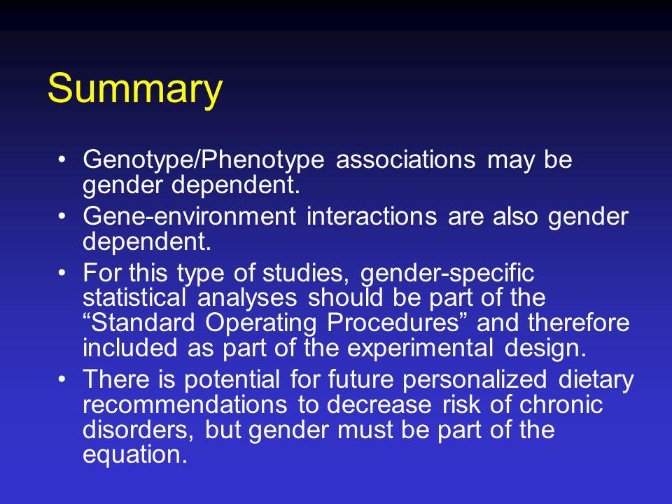 Summary Genotype/Phenotype associations may be gender dependent.