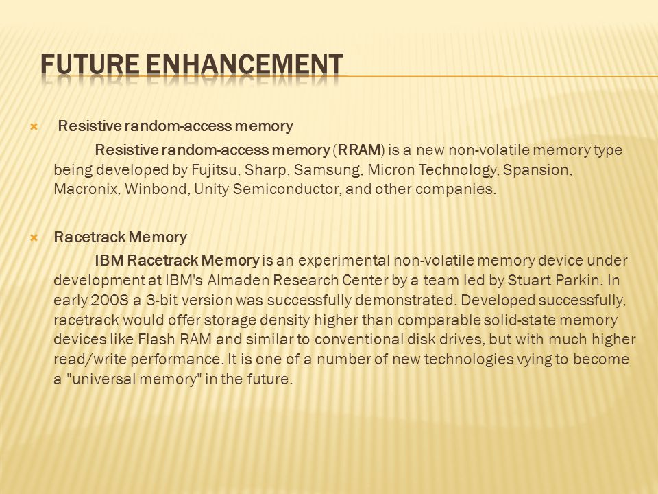 FUTURE ENHANCEMENT Resistive random-access memory