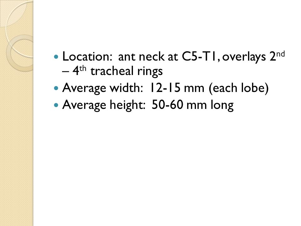 Location: ant neck at C5-T1, overlays 2nd – 4th tracheal rings