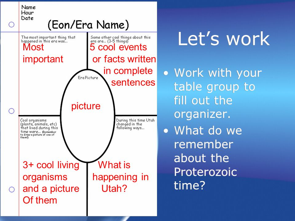 Let's work Work with your table group to fill out the organizer.