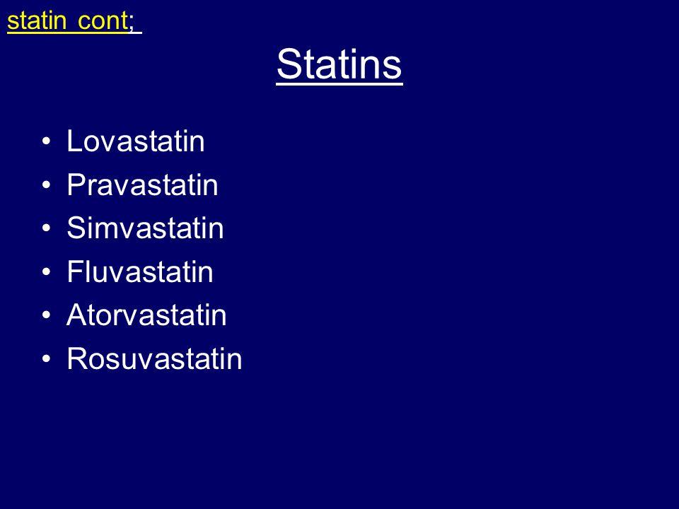 Statins Lovastatin Pravastatin Simvastatin Fluvastatin Atorvastatin