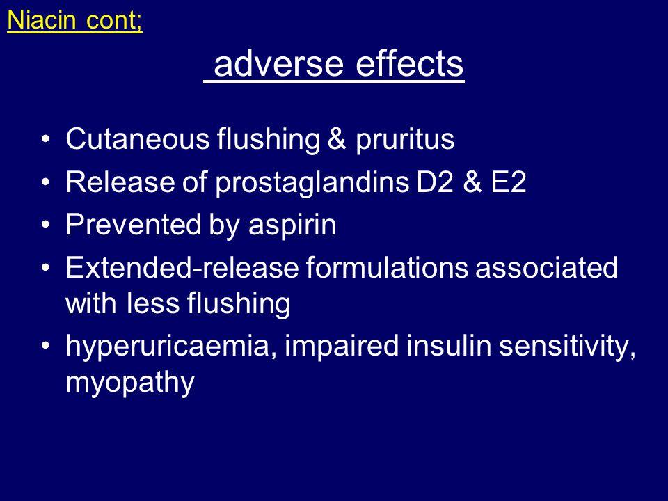 adverse effects Cutaneous flushing & pruritus