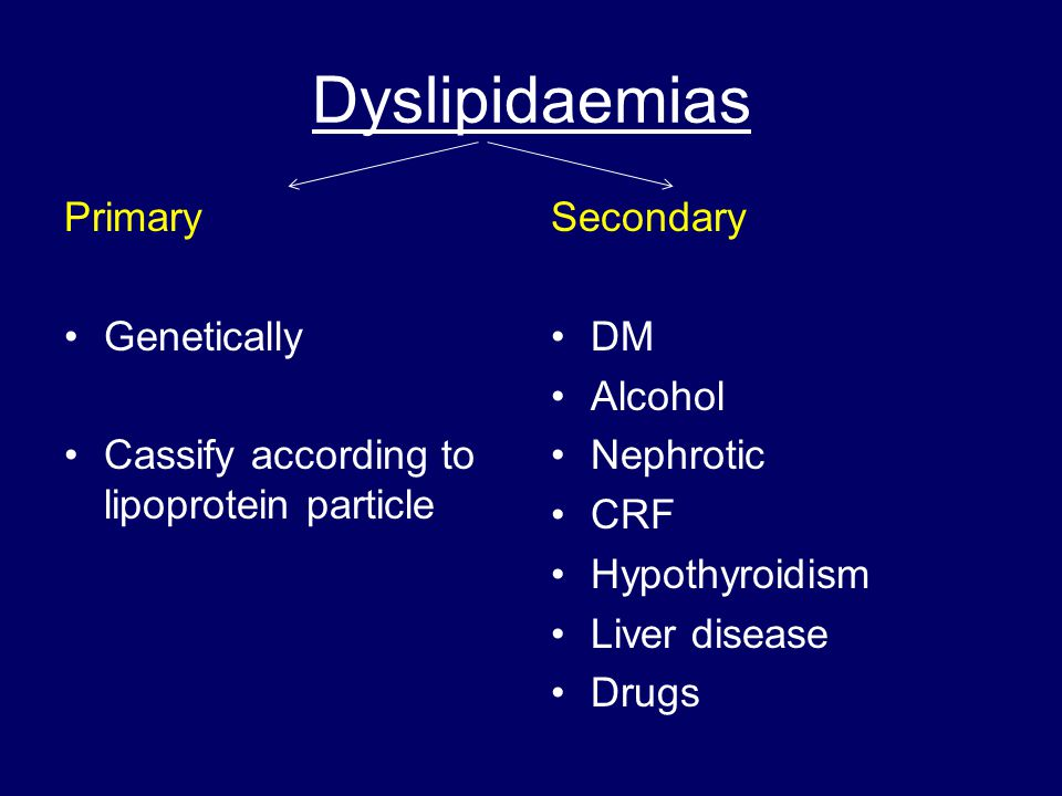 Dyslipidaemias Primary Genetically