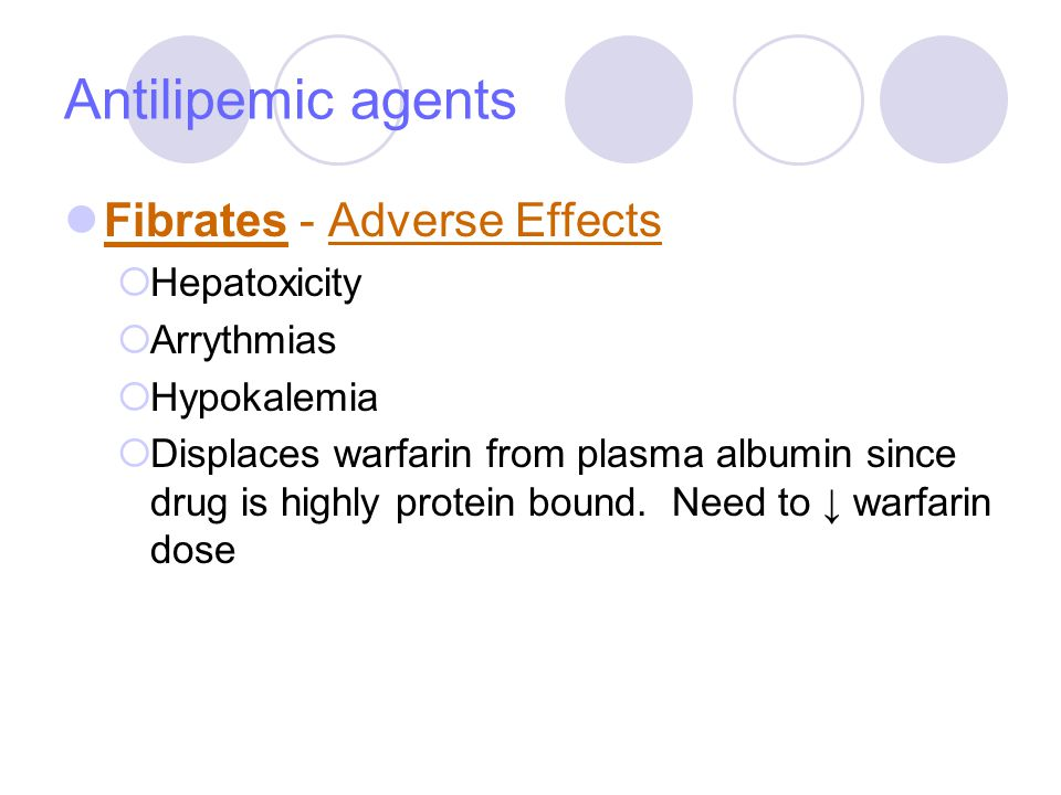 Antilipemic agents Fibrates - Adverse Effects Hepatoxicity Arrythmias