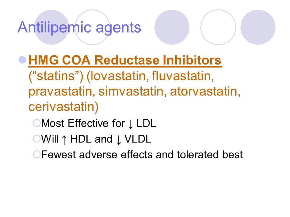 Antilipemic agents HMG COA Reductase Inhibitors ( statins ) (lovastatin, fluvastatin, pravastatin, simvastatin, atorvastatin, cerivastatin)