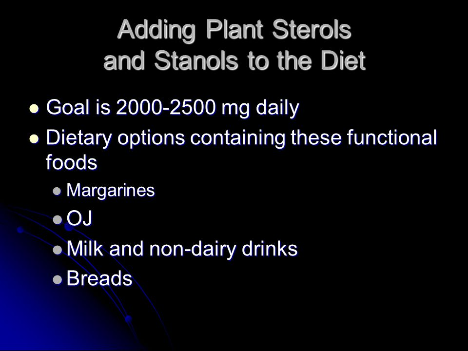 Adding Plant Sterols and Stanols to the Diet