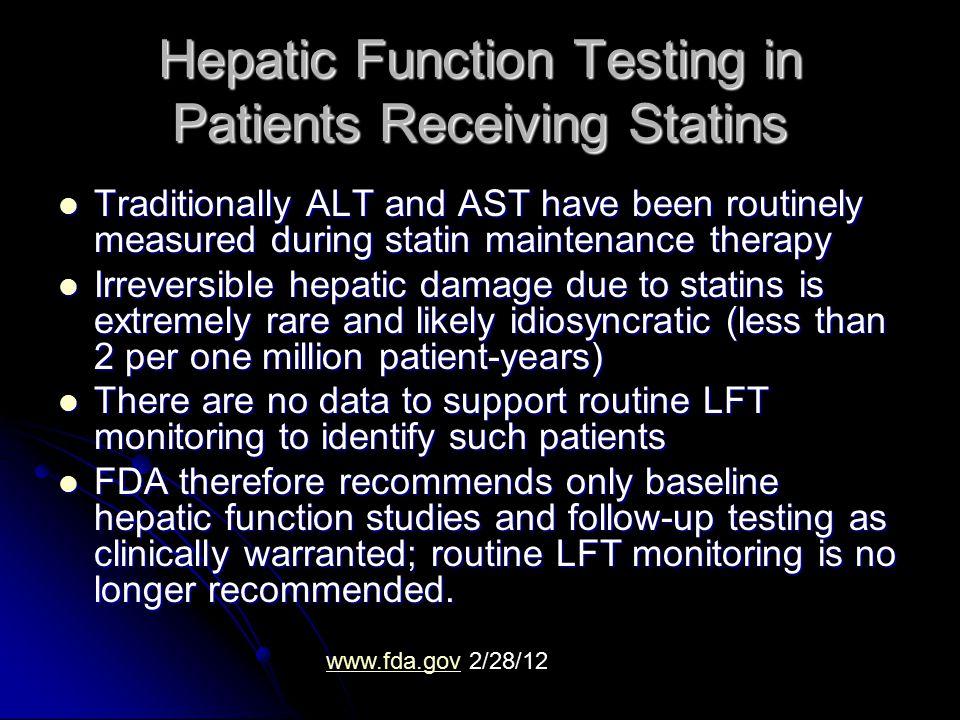 Hepatic Function Testing in Patients Receiving Statins