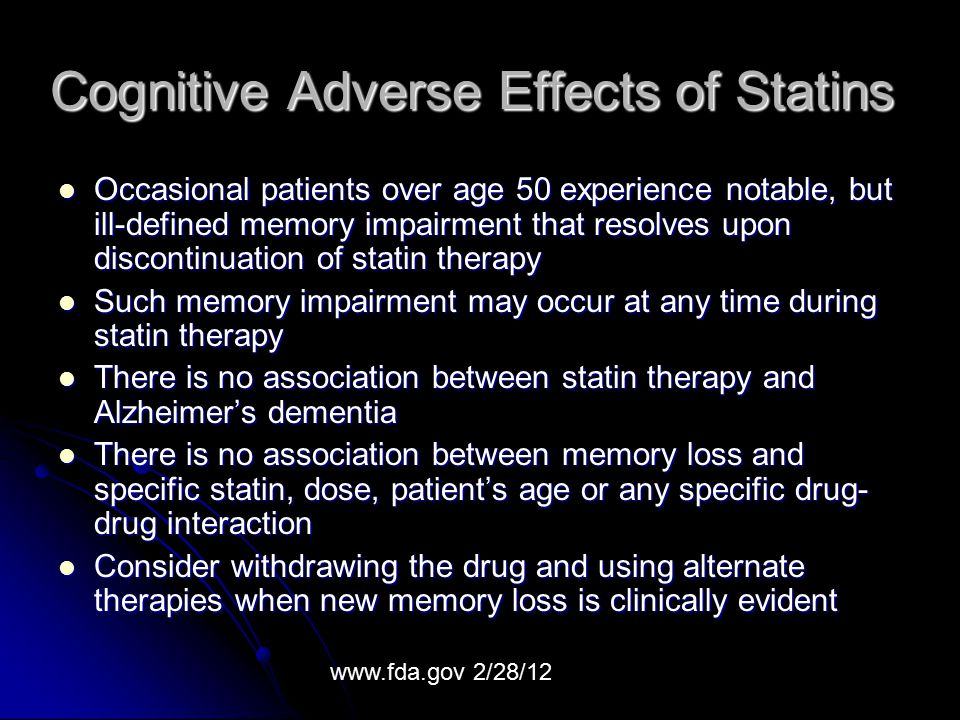 Cognitive Adverse Effects of Statins