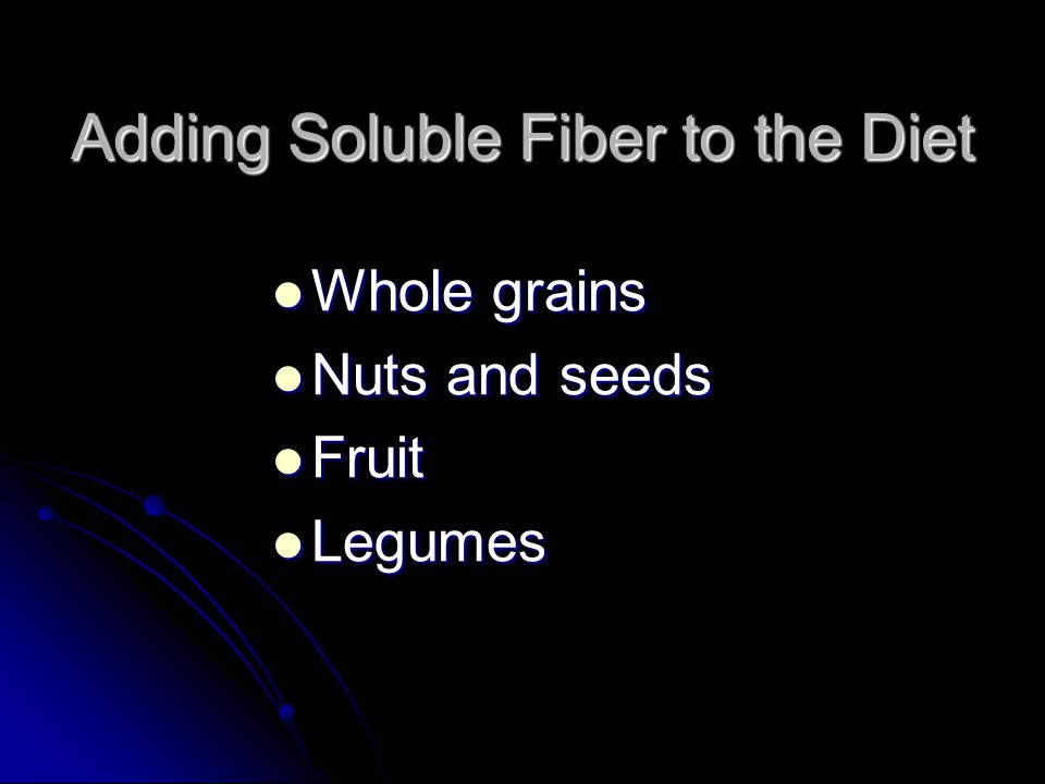 Adding Soluble Fiber to the Diet