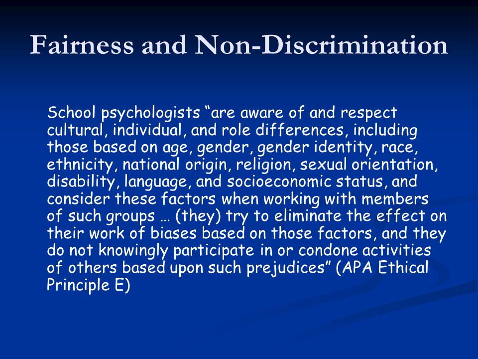 Fairness and Non-Discrimination