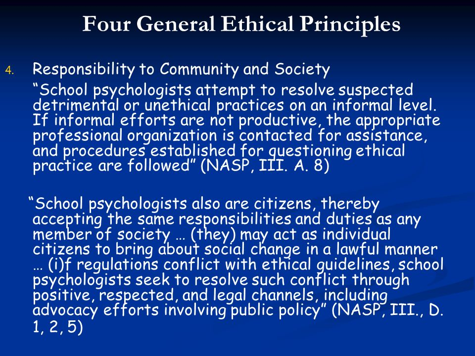 Four General Ethical Principles