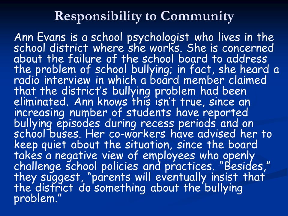 Responsibility to Community